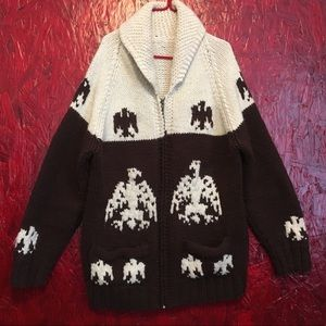 Vintage hand-knit cowichan sweater with Eagle